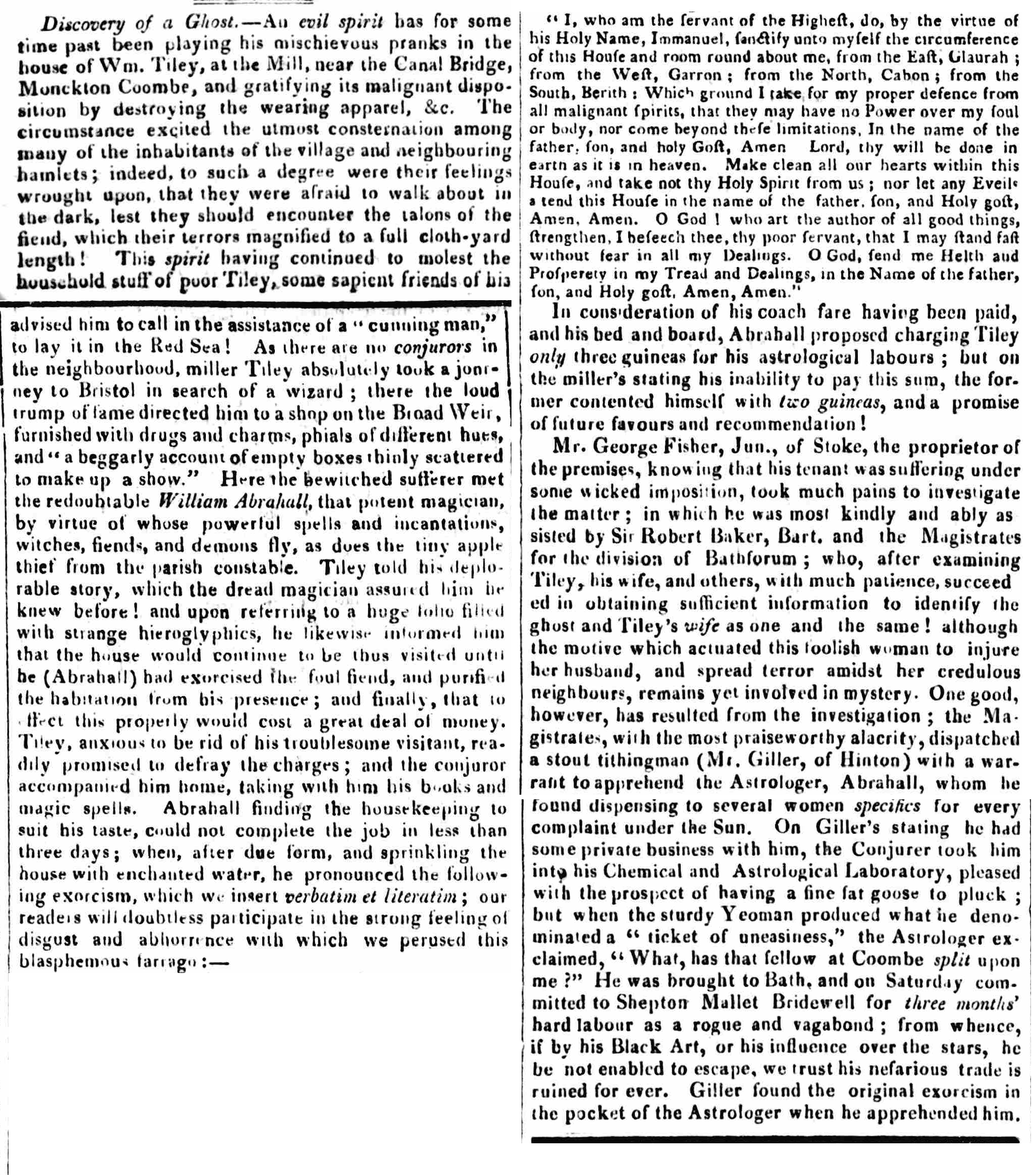 Article from 1822 about a haunting and a Cunning-Man